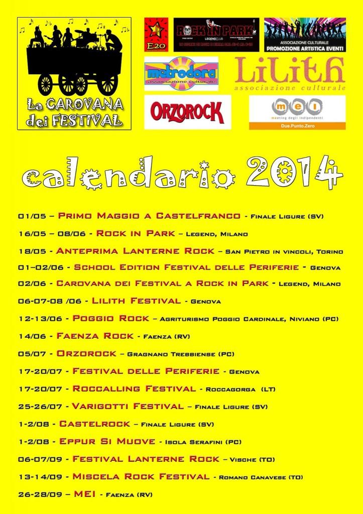 Calendario Carovana Dei Festival 2014